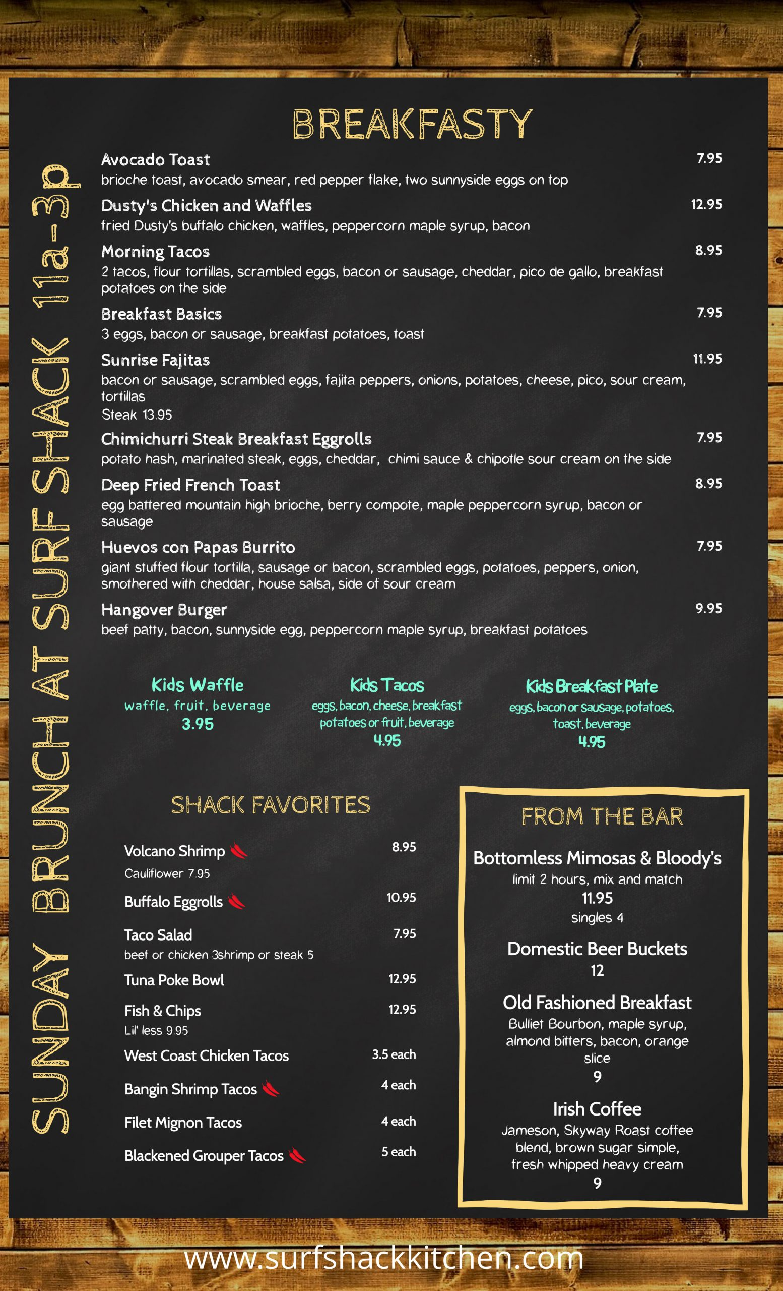 Surf Shack Brunch Menu